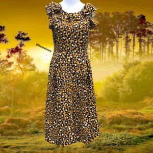 Leopard Print Button Down Up Dress Short Sleeve S